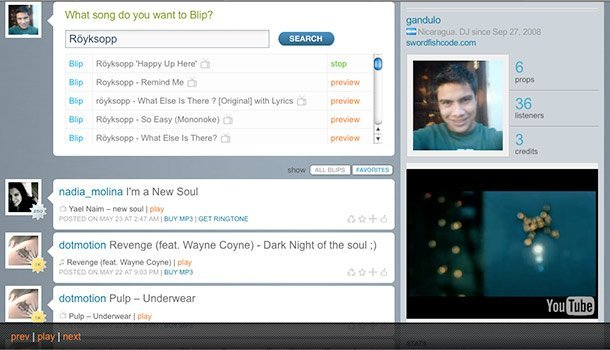 Blip.fm integra los videos de YouTube